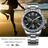 Moderne Art-Edelstahl-Rückseiten-mechanische Sport-Uhr, Chronograph-Uhr Men72261