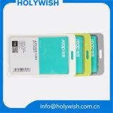 Caliente unisex tarjeta transparente titular de la tarjeta con los cordones