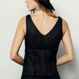 Robe transparente Single-Breasted assortie de lacet de V-Collet de femmes de mode