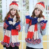 Form strickte eingestellten Winter-die warmen Wolle-Hut-Schal-Handschuhe mit der Hand