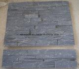 Ardósia natural cinzenta escura da pedra da cultura para o revestimento da parede