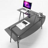 현대 연구 결과 가구 L-Shaped 유리제 컴퓨터 책상