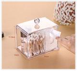El maquillaje plástico de la esponja de la bola de algodón de la encimera del cuarto de baño completa a organizador