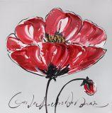 Grande peinture à l'huile se développante rouge de fleur