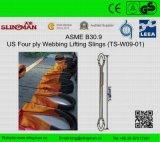 ASME B30.9 nous élingues de levage de sangle à quatre épaisseurs (TS-W09-04)