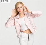 Женщин пузыря осени параграфа куртки PU краткости женщин куртка скоросшивателя PU кожаный кожаный