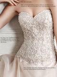 A assimetria 0040 cora/vestido de casamento leve de Organza do volume do Underlay do cetim do ouro
