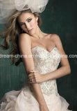 テュルのサテンの思いがけないキャミソールの花の装飾の女性の夕方のウェディングドレス(夢100036)