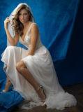Erstaunlicher Perlen mit V-Ausschnitt A-Line Chiffon-Kleid