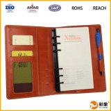 Caixa de couro relativa à promoção do caderno do plutônio com ranhura para cartão