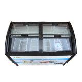 Congelador de vidro de revestimento endurecido do gelado de quatro portas