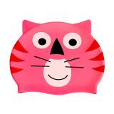 Chapéu da natação do silicone dos desenhos animados da forma do gato para miúdos