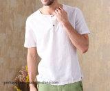 Camicia all'ingrosso di colore solido di svago dei vestiti degli uomini con il marchio su ordinazione