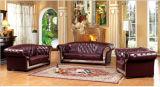 Sofá del cuero genuino con el sofá clásico de Chesterfield