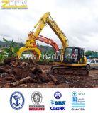 A casca alaranjada hidráulica luta para a máquina escavadora
