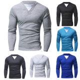Les hommes de mode occasionnels amincissent le long T-shirt de chemise de V-Collet en bonne santé (A406)