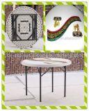 3ft Outdoor White Plastic Folding Round Dining Table с Umbrella Hole