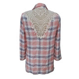 Check에 있는 형식 Women Casual Long Sleeve Shirt