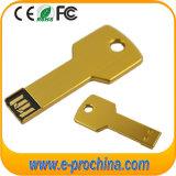 Movimentação instantânea da pena do USB chave dourada da cor da mini