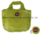 Sacola de compras de transportadora de compras dobrável de poliéster ecológico reutilizável promocional publicitária promocional