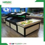 Estante vegetal del estante del soporte de fruta del supermercado metálico de madera de la visualización del plátano