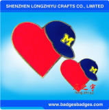 모양 사기질 금속 기장 결혼식 접어젖힌 옷깃 핀 빨간 심혼 모양 기장을 주문을 받아서 만드십시오