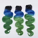 """22 """" Bwの毛の閉鎖のNon-Remyの人間の毛髪のWeft Green/#613金髪"""