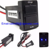 USB Port Socket + Fuse Cell Phone Charger + Audio Input do carro 3.1A Dual para Toyota