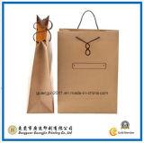 Personalizada impresión de la insignia del papel de Kraft de compras del bolso de mano (GJ-Bag529)