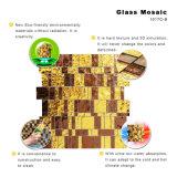 Teja cristalina del oro de Nuevo Diseño Corte de la mano de pared de vidrio mosaico