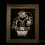 LEIDEN van de sneeuwman 3D Creatief Licht in Houten Frame