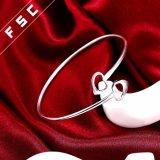 Armband van de Juwelen van de manier de Geplateerde Hart Gevormde Zilver voor Meisje