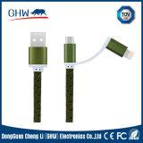 Couleur kaki de câble en nylon tressé plat du transfère des données USB (TUV)