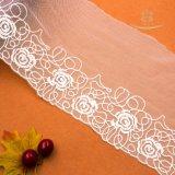Tessuto di maglia del tessuto del merletto del jacquard per il tessuto Ivory del merletto del rayon del fiore 3D dei vestiti