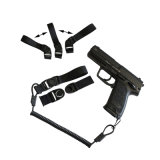 Tactical Durable Elastic Weapon Gun Pistol Lanyard com Belt Loop e Gancho de Aço