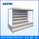 Refrigerador dianteiro aberto do indicador do anúncio publicitário do supermercado para o congelador do Showcase da fruta da bebida