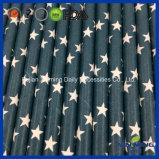 Paille bleu-foncé de papier de profil sous convention astérisque de décoration de fête d'anniversaire
