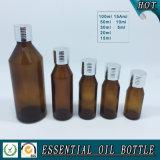 Bouteille en verre ambre européenne d'huile essentielle avec le chapeau, compte-gouttes, pompe