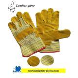 Guanto rattoppato dorato della palma del cuoio spaccato della mucca con la parte posteriore di cotone (guanto di cuoio del lavoro)