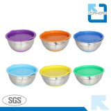Aço inoxidável Silicone Bottom Mixing Bowl Salad Bowl with Plastic Lid