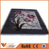 Warm Soft Flower Printing Double couche en polyester épais Raschel Blanket