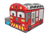 Castello di salto gonfiabile di disegno del bus di colore rosso con i giocattoli
