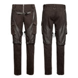 Steampunk Coffee Men's Cargo Pants Big Pockets Jeans Metálicos (K-284)