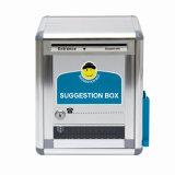 Caixa de sugestões de alumínio com caneta e bloco de notas
