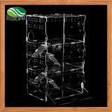 Three-Tier transparentes Acrylschauspielhaus Hidout für kleines Tier-Nagetier-Haus-Eigentumswohnung-Rahmen-Landhaus-Schwingen-Schwanken-hölzerne Spielwaren