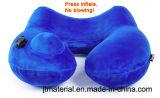 En forma de U Air Push almohadilla inflable del cuello Aviñón de viaje de prensa Inflar cuello almohada