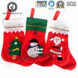 2016 Zak de Van uitstekende kwaliteit van Kerstmis van het Katoenflanel van de Zak van de Sok met het Embleem van het Borduurwerk