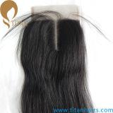 Fermeture de dentelle ondulée des cheveux humains de Remy indienne