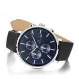 Uhr Qualität-der kundenspezifischen Chronograph-Männer mit echtes Leder-Band 72691