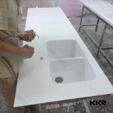 Il controsoffitto di superficie solido di pietra artificiale personalizzato con il dispersore ha tagliato
